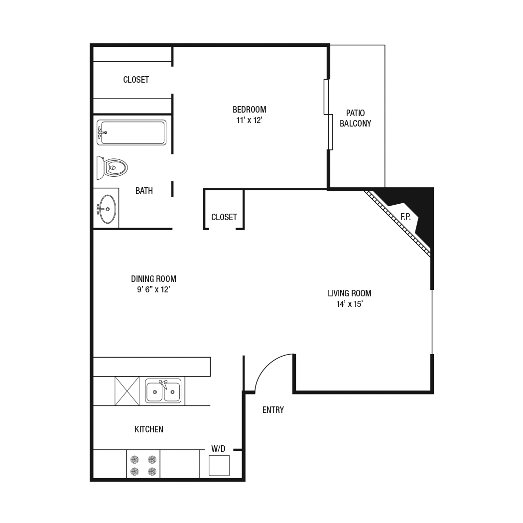 A1 - 1 Bedroom / 1 Bath - 701 Sq.Ft.*