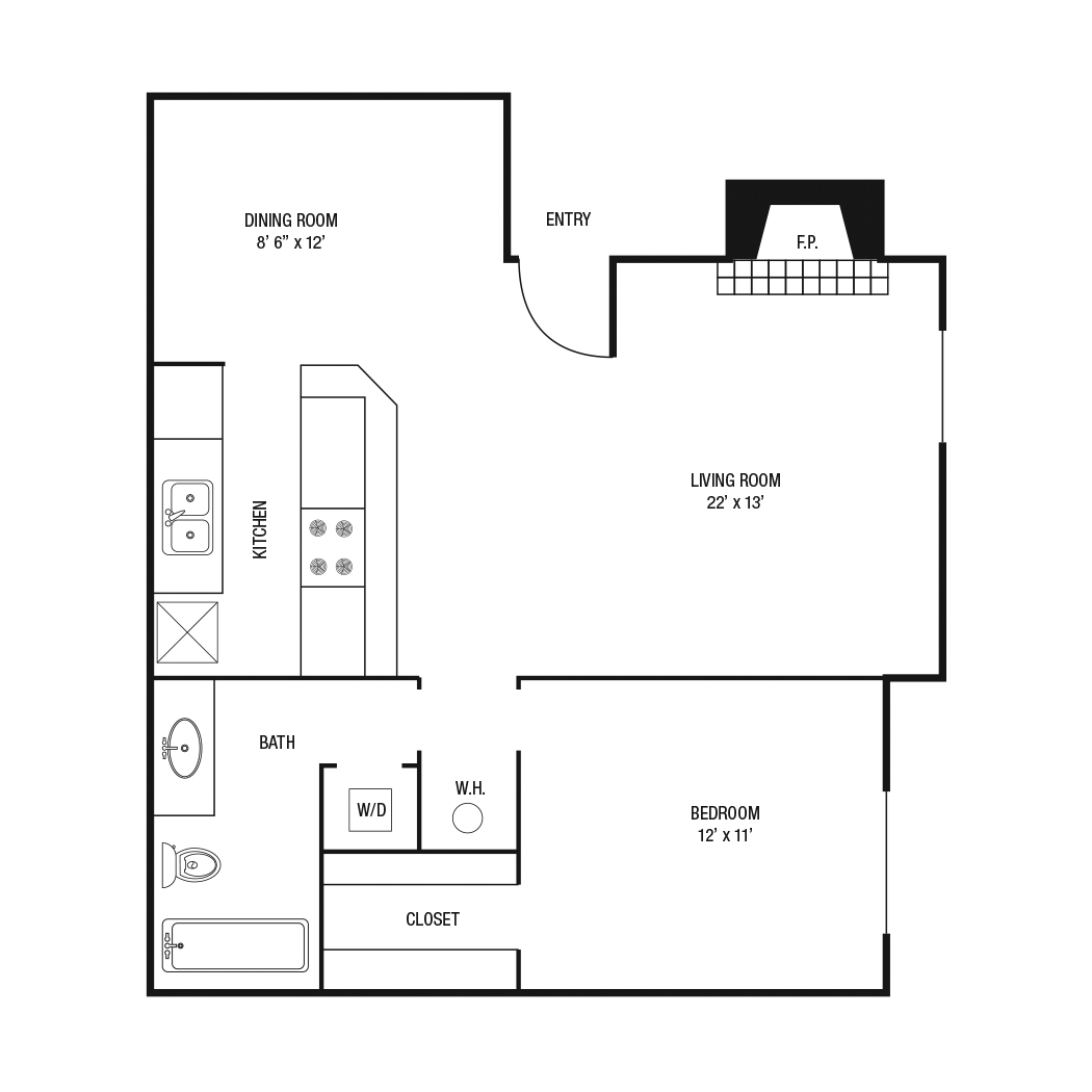 A2 - 1 Bedroom / 1 Bath - 729 Sq.Ft.*