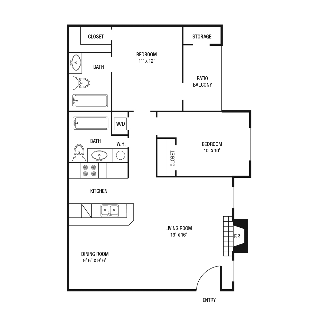 B1 - 2 Bedroom 2 Bath 878 Sq.Ft.*